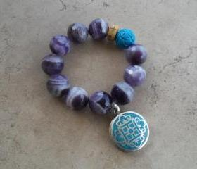 Faceted Purple Amethyst Stretch Bracelet with Turquoise Tibetan Mandala Inlay Pendant