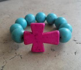 Turquoise Stretch Bracelet with Pink Cross