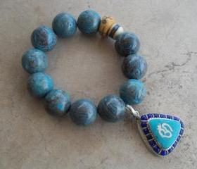 Natural Blue Sky Jasper Stretch Bracelet with Om Triangular Pendant with Turquoise and Lapis Inlays